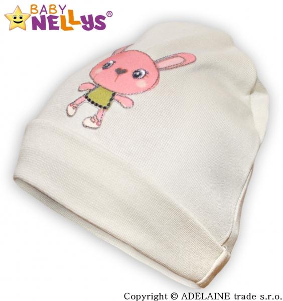 Bavlněná čepička Baby Nellys ® - béžová s Králíčkem