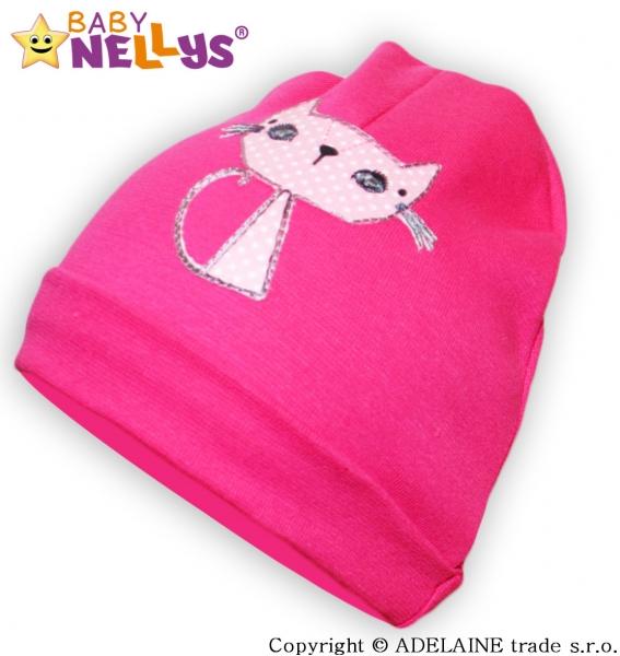 Bavlněná čepička Baby Nellys ® - sytě růžová s Kočičkou