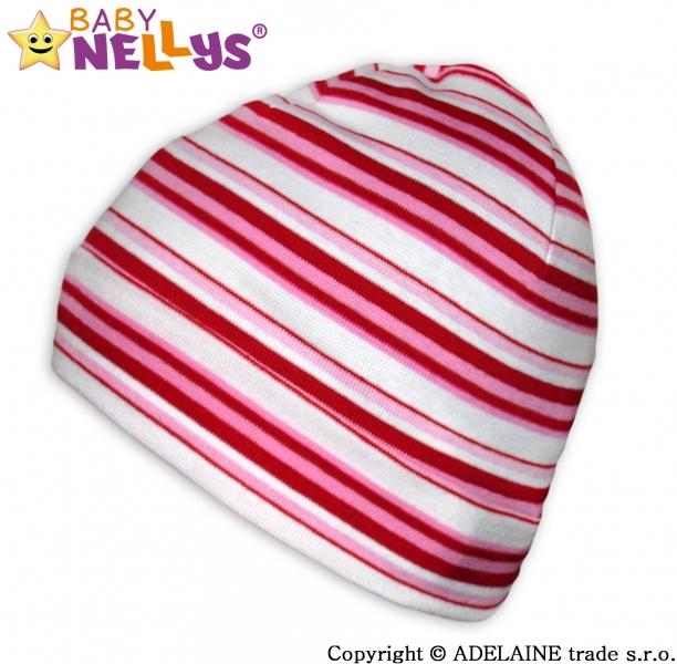 Bavlněná čepička Baby Nellys ® - Veselé pruhy červená/růžová/bílá - vel. 42 - 54cm, barva: Proužky červená/růžová/bílá, orientační velikost dle věku: 2-6 let