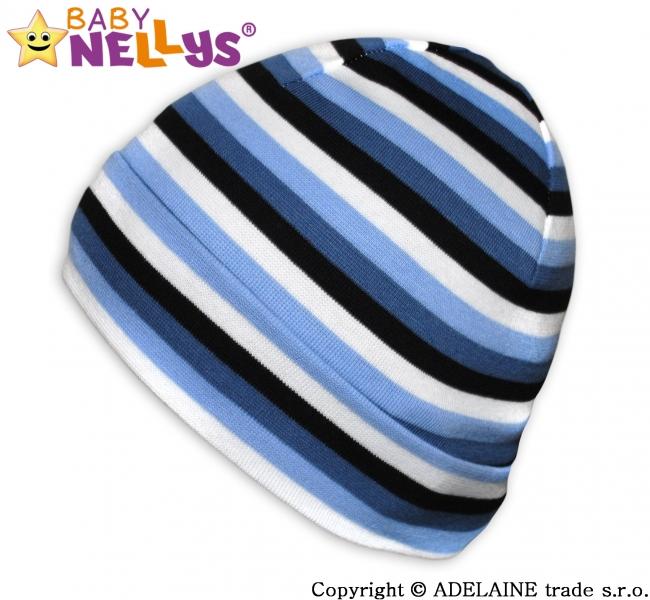Bavlněná čepička Baby Nellys ® - Veselé pruhy modré/černé/bílá