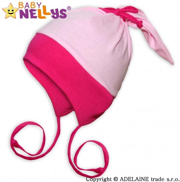 Bavlněná čepička Baby Nellys ® - Zajíček Duo - růžová