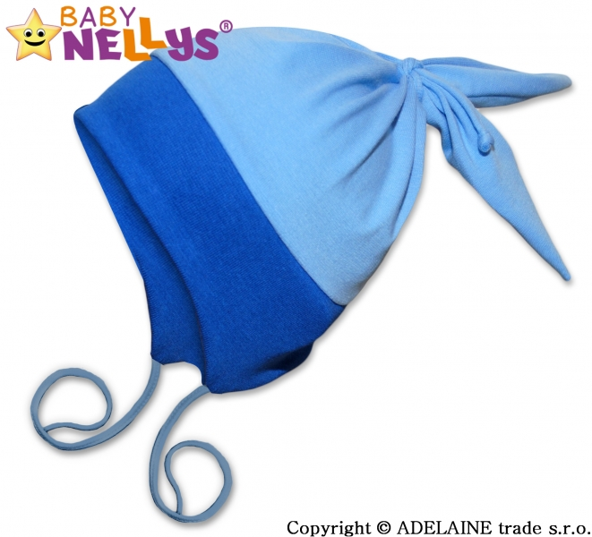 Bavlněná čepička Baby Nellys ® - Zajíček DUO - modrá - vel. 40 - 48cm, barva: Modrá/sv.modrá, orientační velikost dle věku: 6 - 24 měsíců