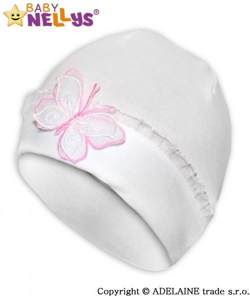 Bavlněná čepička s Motýlkem a  s krajkou Baby Nellys ® - bílá