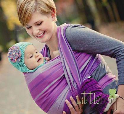 Little FROG Tkaný šátek na nošení dětí - AMETYST