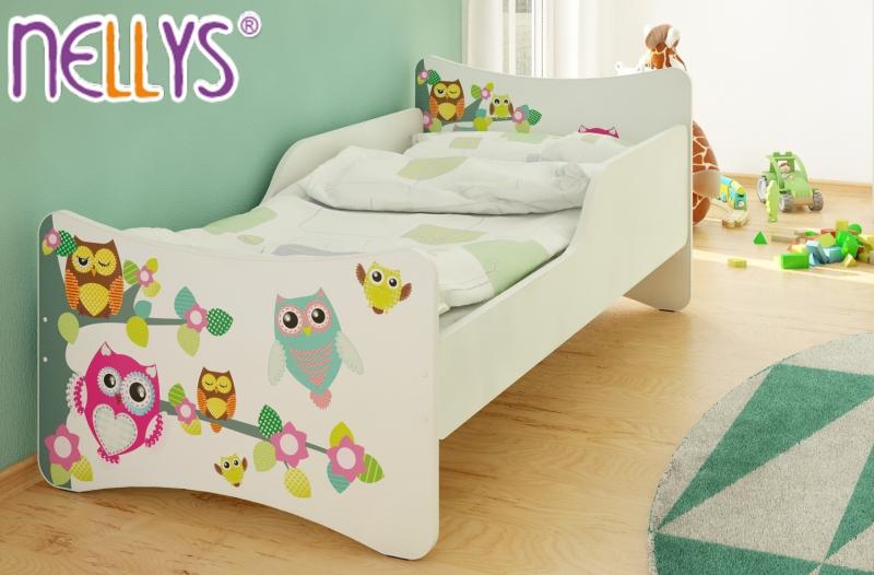 NELLYS Dětská postel se zábranou Sovy na stromě - 200x80 cm