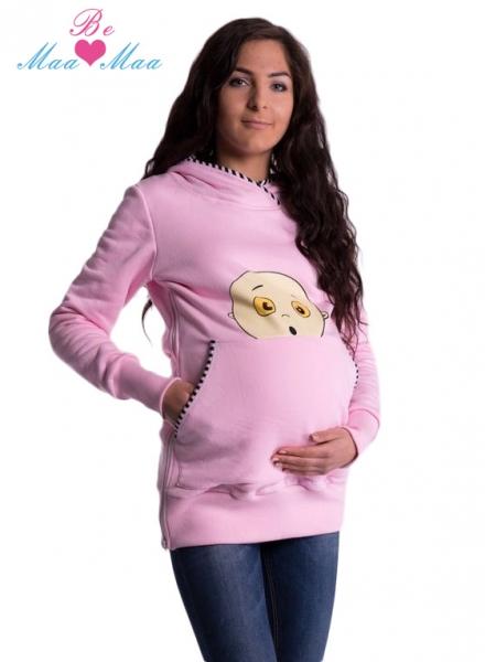 Be MaaMaa Těhotenská mikina s kapucí Beba - sv. růžová, Velikost: M/L
