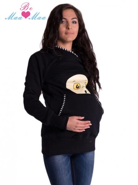 Be MaaMaa Těhotenská mikina s kapucí Beba - černá
