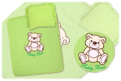 Baby Nellys 2-dílná sada do kočárku Medvídek Teddy Bear - zelená