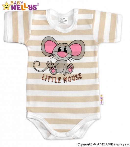 Body kr. rukáv  Baby Nellys®- Little Mouse - béžový proužek