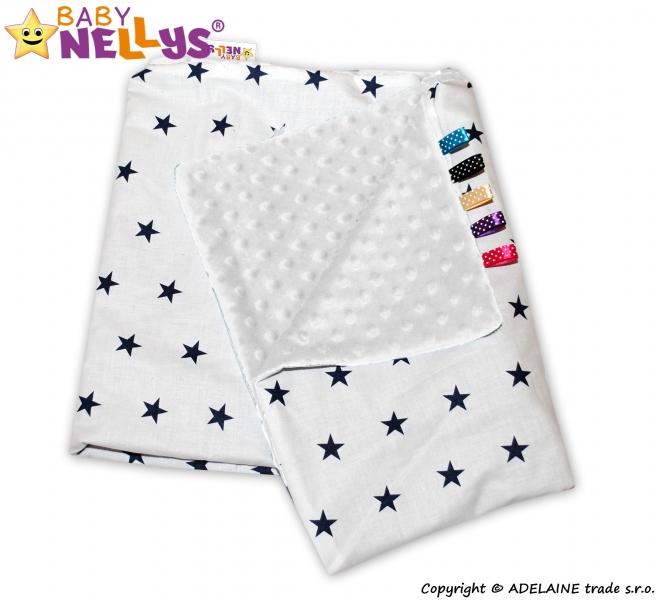 MINKY Baby Luxusní dečka Klasik - Hvězdičky granátové v bílé/bílá minky - VELIKOST: 75x100cm, vzor: Hvězdičky granátové v bílé - MINKY bílá