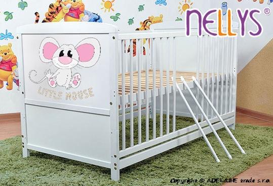 Dřevěná postýlka 2 v 1 Nellys Little Mouse - bílá/bílá, 120x60