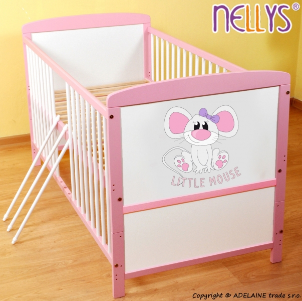 Dřevěná postýlka 2 v 1 Nellys LITTLE MOUSE - růžová/bílá