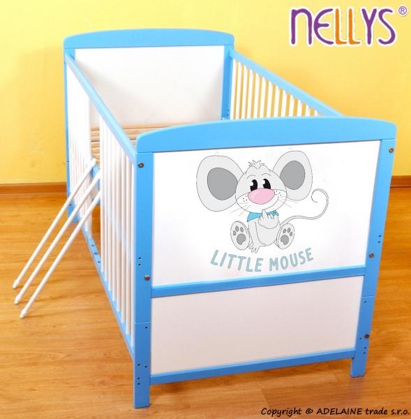 Dřevěná postýlka 2 v 1 Nellys LITTLE MOUSE - modrá/bílá