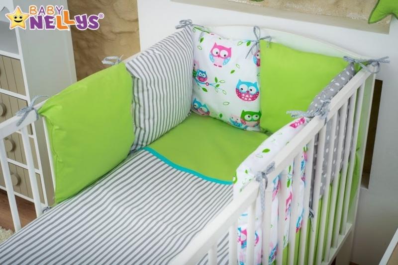 Baby Nellys Mega sada Be LOVE - Zelená/šedá - Sovičky