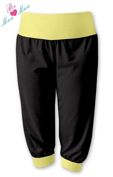 Be MaaMaa Sportovní 3/4 legíny CAPRI - černé/žluté. vel. L/XL