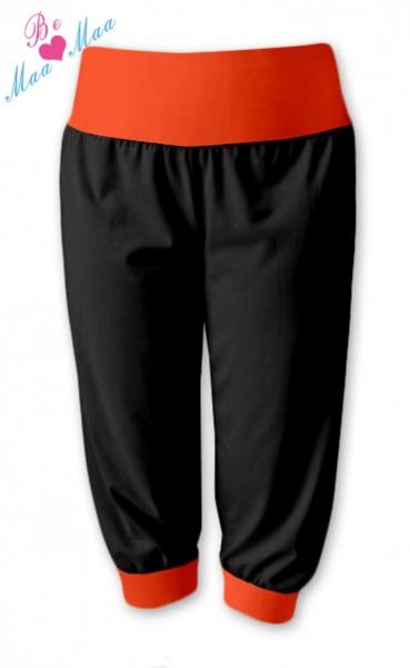 Be MaaMaa Sportovní 3/4 legíny CAPRI - černé/oranž , vel. L/XL