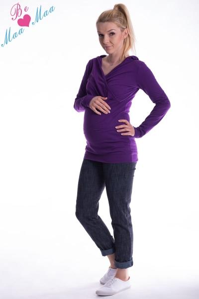 Těhotenská mikina s kapucí OLINA - fialová