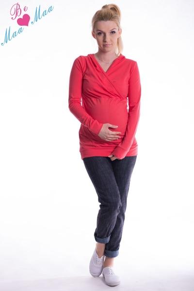 Be MaaMaa Těhotenská mikina s kapucí OLINA - koral, vel. L/XL