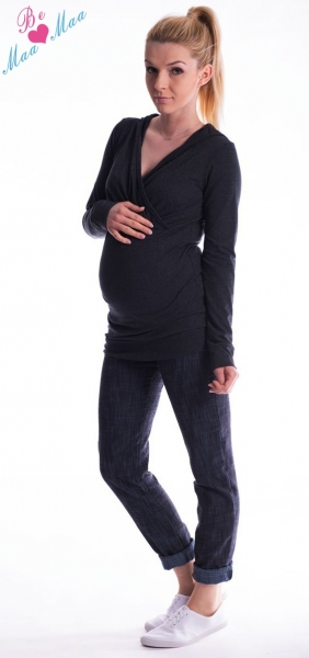 Be MaaMaa Těhotenská mikina s kapucí OLINA - černá, Velikost: S/M
