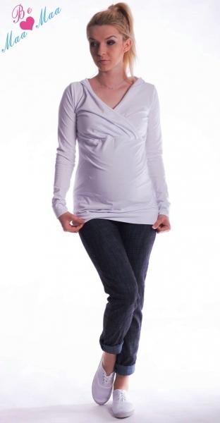 Be MaaMaa Těhotenská mikina s kapucí OLINA - bílá