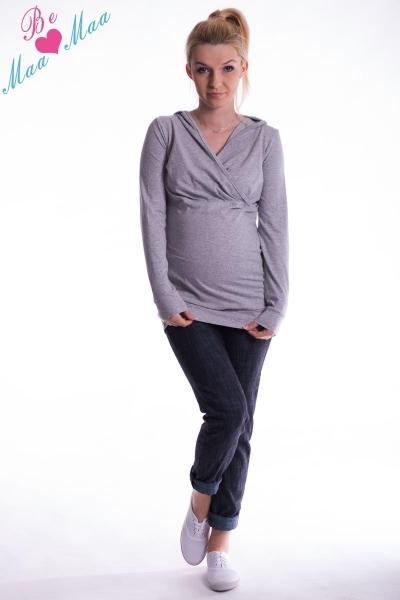 Be MaaMaa Těhotenská mikina s kapucí OLINA - šedý melír