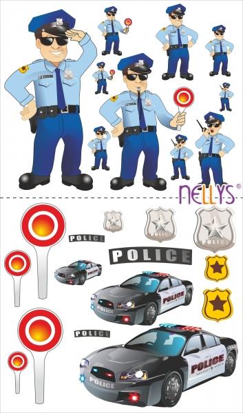 NELLYS Nálepky, dekorace na stěnu 70x100 cm - Policie