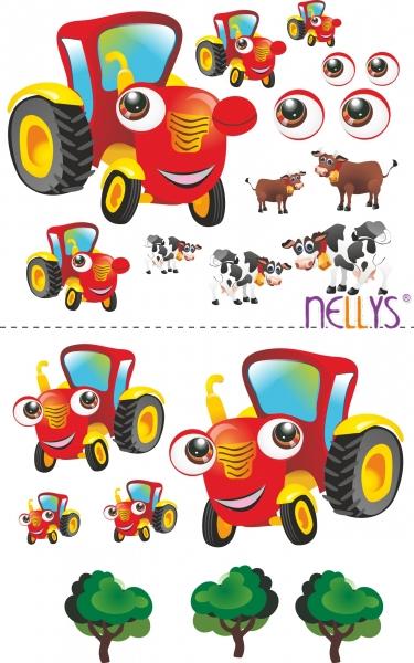 Nálepky, dekorace na stěnu 70x100 cm - Traktor