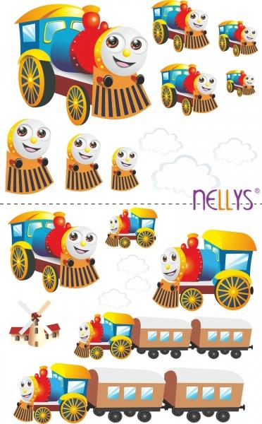 NELLYS Nálepky, dekorace na stěnu 70x100 cm - Veselá lokomotiva