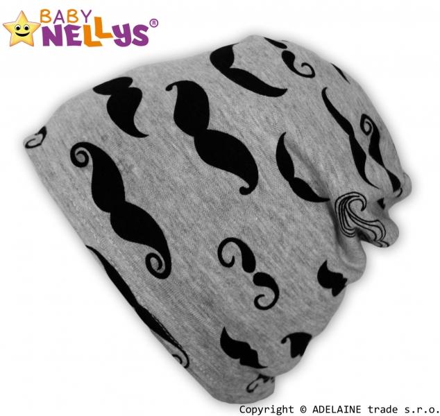 Bavlněná čepička Baby Nellys ® - Knírky, Velikost: 3-10let