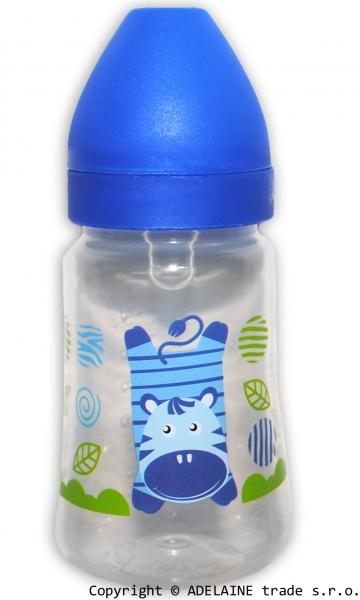 Lahvička Akuku 125ml - modrá se zebrou