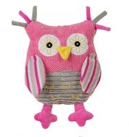 BabyOno Edukační plyšová hračka s chrastítkem - Sovička růžová - HOLKA