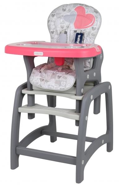BABY MIX Jídelní židlička 2v1 - Srdce koral