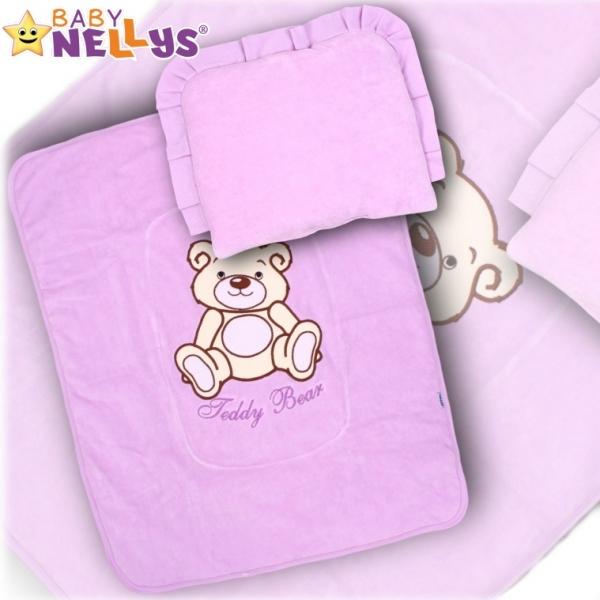 Baby Nellys 2 - dílná sada do kočárku jersey Medvídek Teddy Bear - fialová