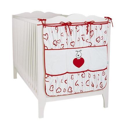 Kapsář PUPPY LOVE - červená srdíčka
