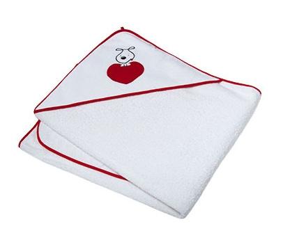 Osuška s kapucí Ty i My 100 x 100cm - PUPPY LOVE - červené srdíčka