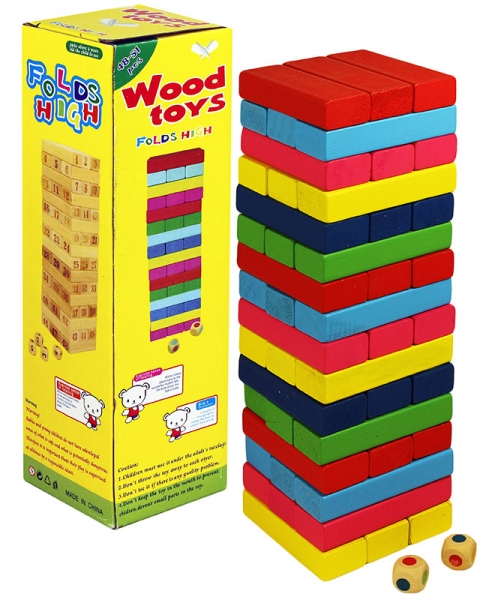 Hra věž Jenga barevná, dřevo