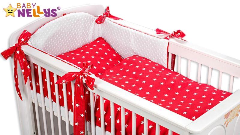 Mantinel s povlečením MINKY BABY - červené hvězdičky