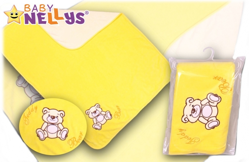Baby Nellys  Deka/dečka froté/velur - Medvídek Teddy Bear - krémová