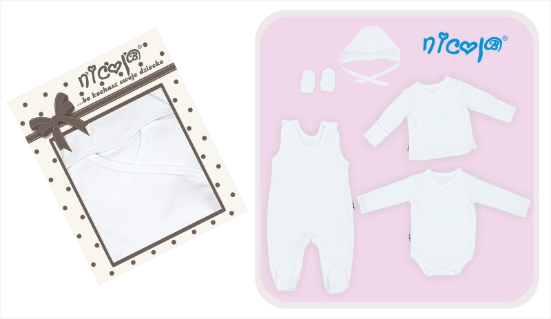 5-ti dílná soup. do porodnice v krabičce - bílá