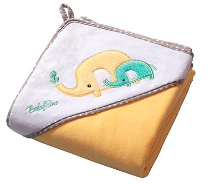 Luxusní osuška Baby Ono - VELUR s kapucí - barva: Žlutá, velikost: 100x100cm, kat.: 138/03, BO