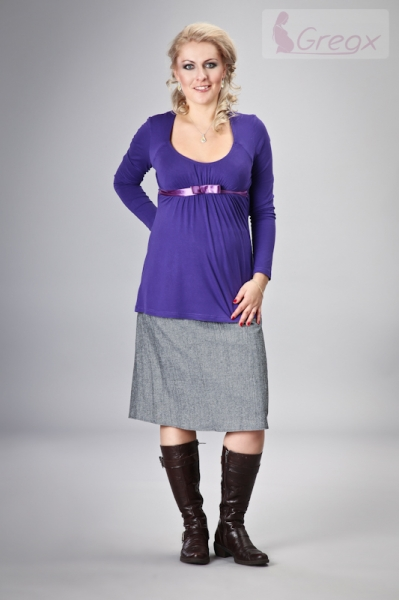 Těhotenská sukně ELVIA - šedá s odstínem stříbr. nitky, Velikost: S