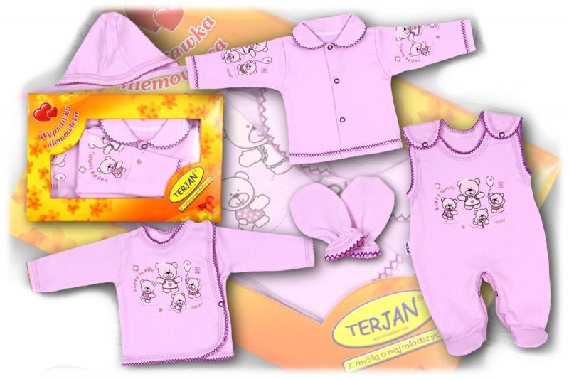 Soupravička do porodnice v krabičce Terjan - fialový méďa, vel. 62