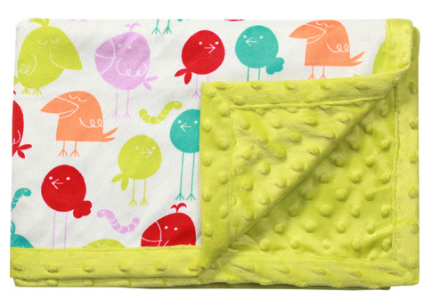 Luxusní oboustranná dečka Baby Ono - MINKY zelená, ptáčci - Barva: Zelená minky, vzor: ptáčci, nr.: 1407/03, 75x100,BO