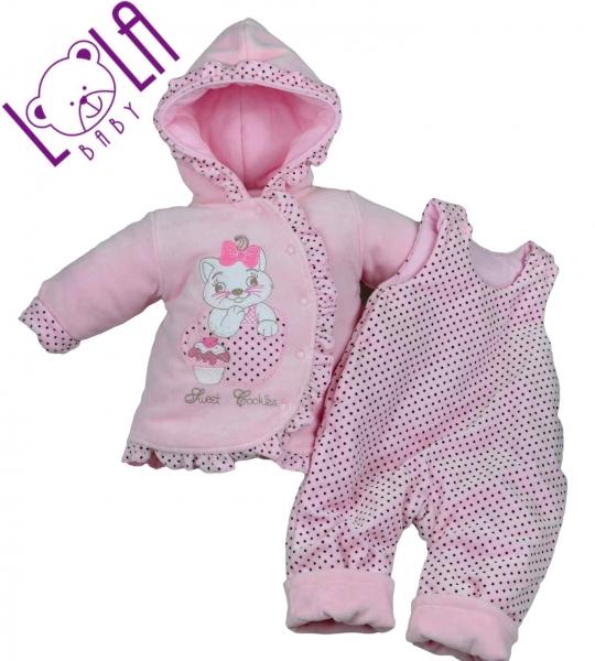 LOLA BABY Oteplený komplet - bundička a lacláče SWEET COOKIES růžové