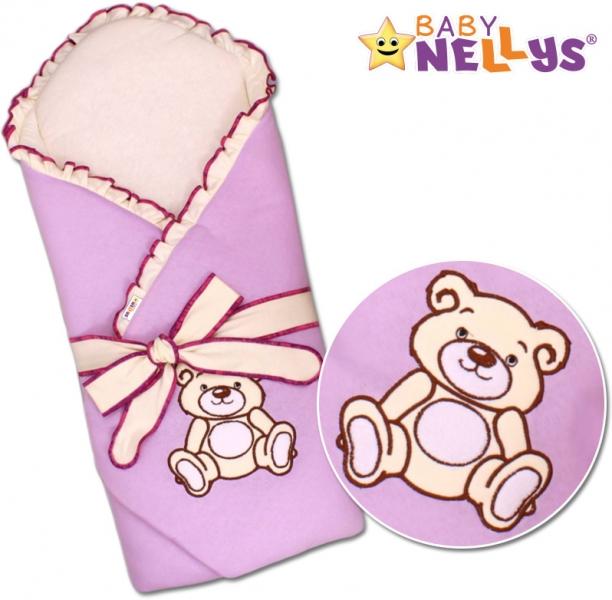 Baby Nellys Zavinovačka s výztuží Teddy bear - jersey - lila