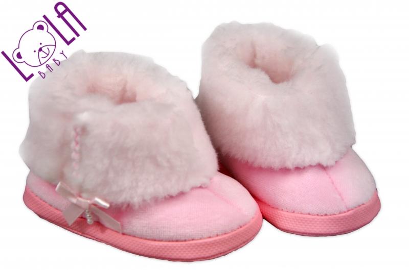 Botičky/kozačky kojenecké - velur - růžové
