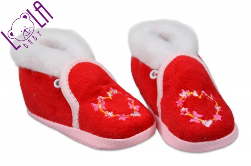 Botičky/papučky kojenecké  - velur - červená, Velikost: 10cm vel. botky