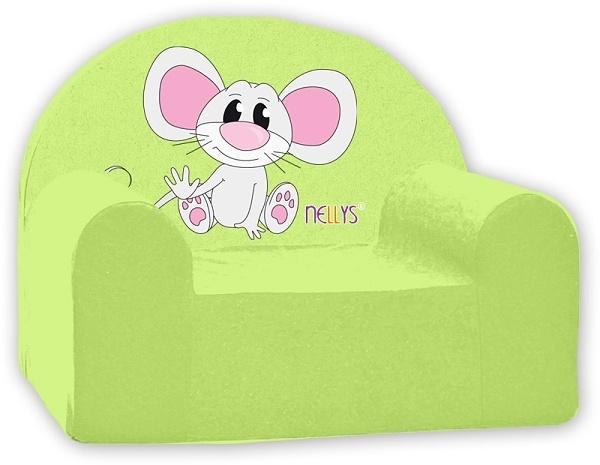 Dětské křeslo Nellys - Myška v zeleném
