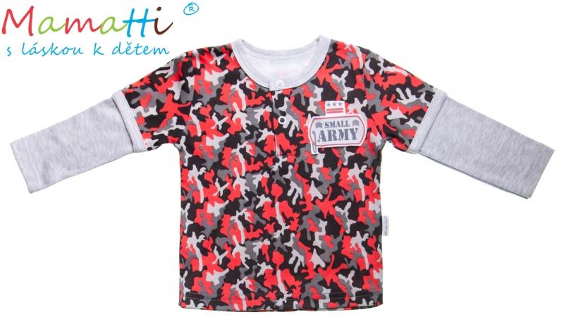 Bavlněné tričko/polo Mamatti - ARMY, Velikost: 80 (9-12m)