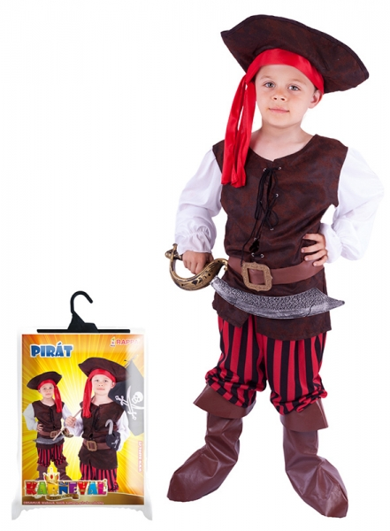 Karnevalový kostým pirát, klobouk, boty, vel. S - Kostým pirát, klobouk, boty, vel. S